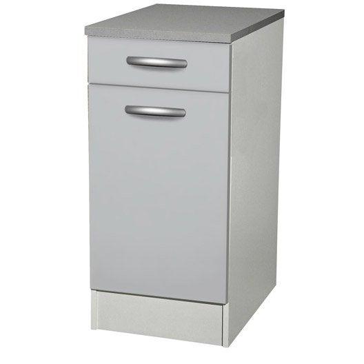 Meuble de cuisine bas 1 porte 1 tiroir gris aluminium for Meuble cuisine aluminium
