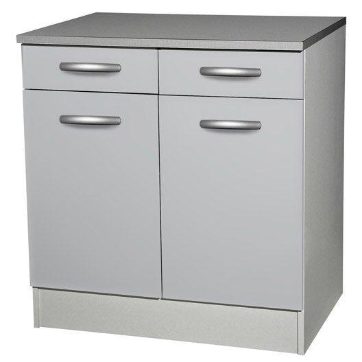Meuble de cuisine bas 2 portes 2 tiroirs gris aluminium for Meuble bas 2 portes 2 tiroirs