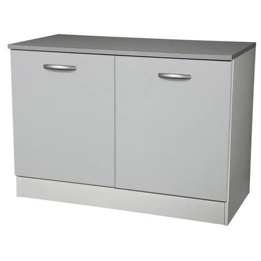 meuble de cuisine bas 2 portes gris aluminium h86x l120x p60cm leroy merlin. Black Bedroom Furniture Sets. Home Design Ideas