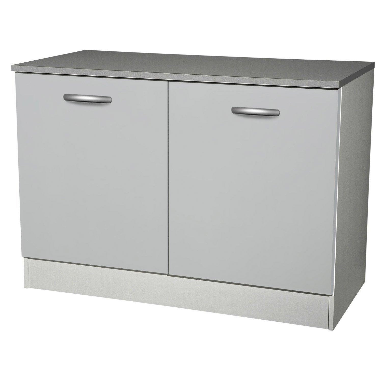 Meuble de cuisine bas 2 portes, gris aluminium, h86x l120x p60cm