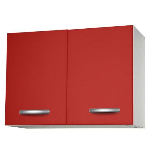 Meuble de cuisine haut 2 portes rouge l80x p35 for Meuble porte rouge