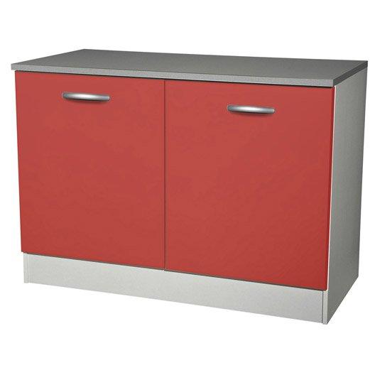 Meuble de cuisine bas 2 portes rouge h86x l120x p60cm for Meuble cuisine 50 x 60