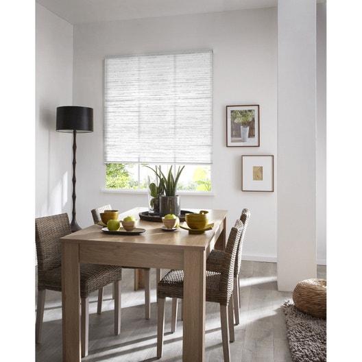 Store enrouleur tamisant Wood, blanc et gris, 155x190 cm