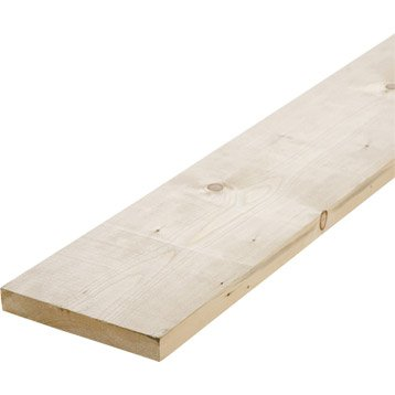 Planche sapin petits noeuds raboté, 27 x 190 mm, L.2.4 m