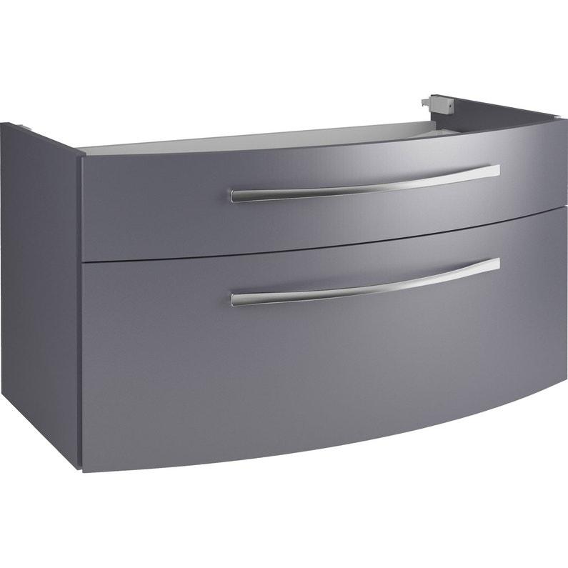 0613228a107e38 Meuble de salle de bains l.89 x H.48.2 x P.48.3 cm, gris métal ...