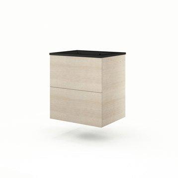Meuble vasque l.60 x H.64 x P.48 cm, imitation chêne Neo line