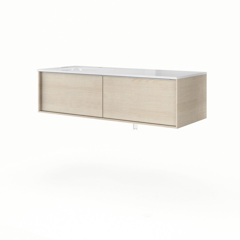 Meuble vasque l.120 x H.32 x P.48 cm, imitation chêne Neo frame ...