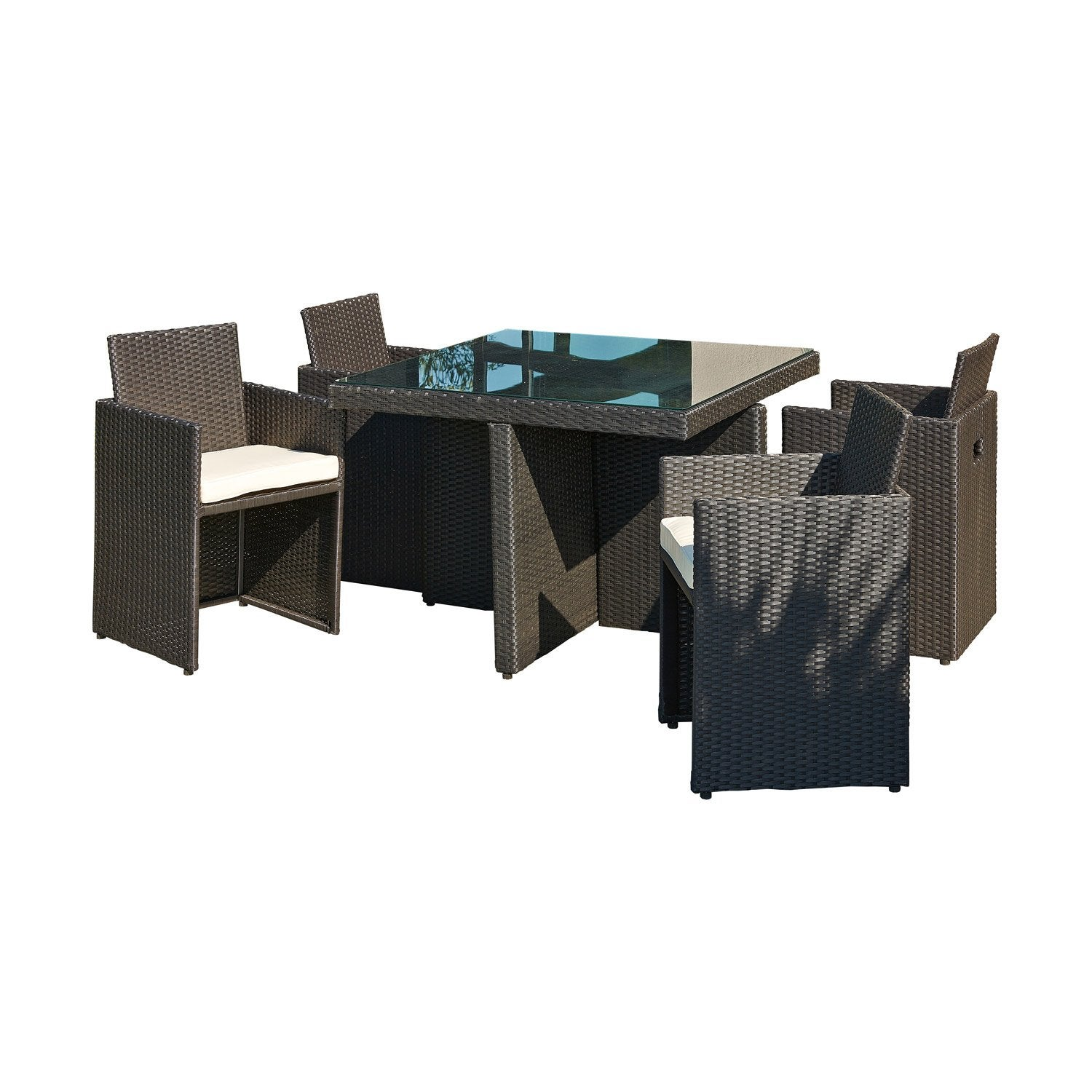 salon de jardin encastrable r sine inject e noir 4 personnes leroy merlin. Black Bedroom Furniture Sets. Home Design Ideas