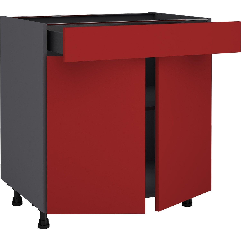 Meuble bas de cuisine Sofia rouge, 133 portes et 13 tiroir H.13 l.13 cm x p.13  cm