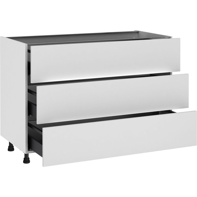 Meuble bas de cuisine Sofia blanc, 12 tiroirs H.12 l.12 cm x p.12 cm