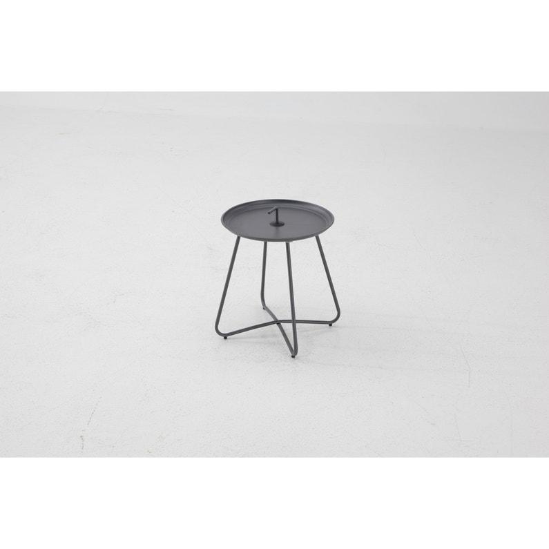 Table de jardin basse Tyra ronde noir 2 personnes