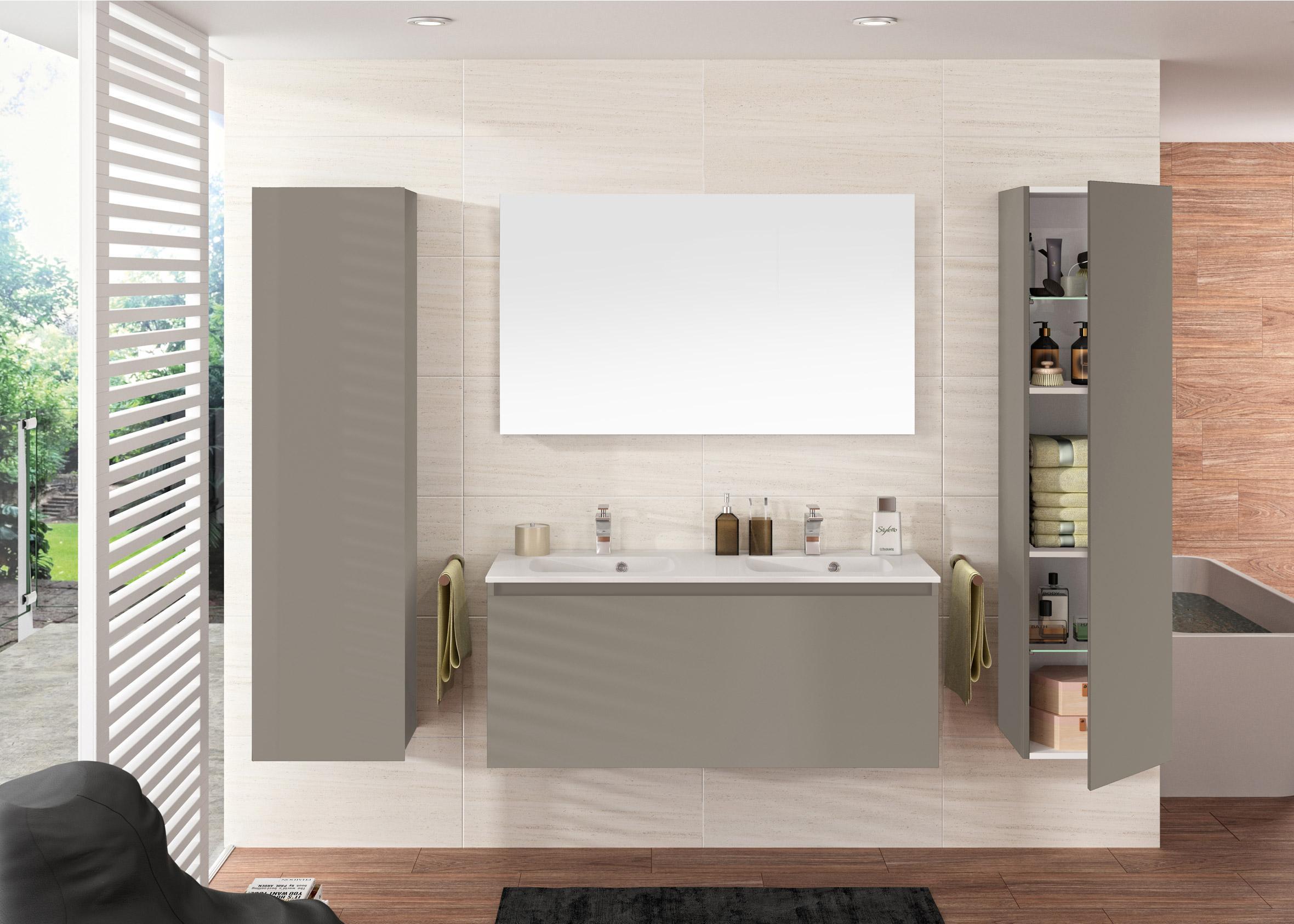 Meuble H Et H ensemble de meuble, vasque et miroir l.120 x h.47.2 x p.44 cm, gris, nordik