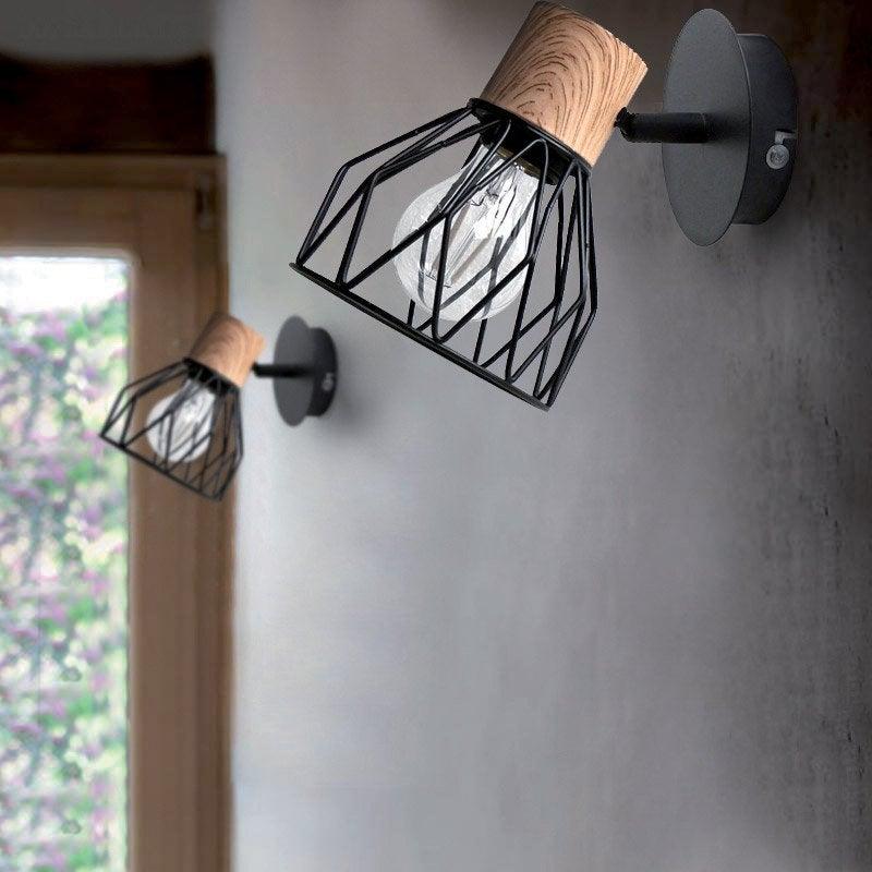 Applique, nature métal noir / bois SEYNAVE Clayton 1 lumière(s)