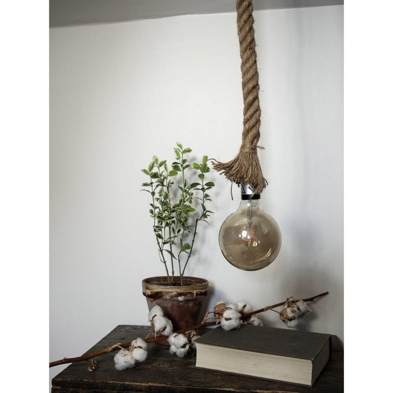 Suspension Vintage Tissu Lin Xanlite Déco Corde