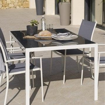 Table De Jardin En Acier Cristal Blanc Naterial