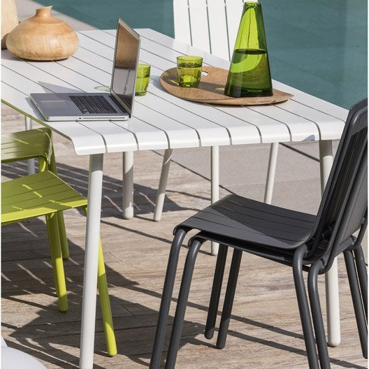 Table de jardin en aluminium exploration blanc naterial for Leclerc exterieur table