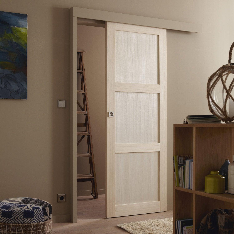 ensemble porte coulissante bowen paulownia avec le rail turbo 2 en aluminium leroy merlin. Black Bedroom Furniture Sets. Home Design Ideas