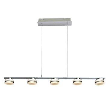 Suspension, led intégrée design Basel métal alu brossé 5 x 5 W INSPIRE