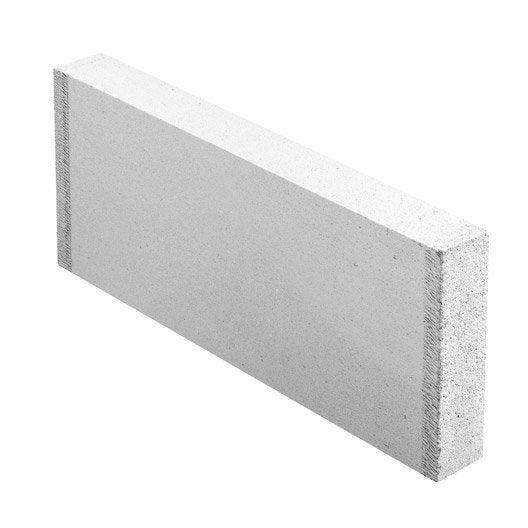 Carreau de b ton cellulaire lisse x x ep 7 cm for Prix beton cellulaire