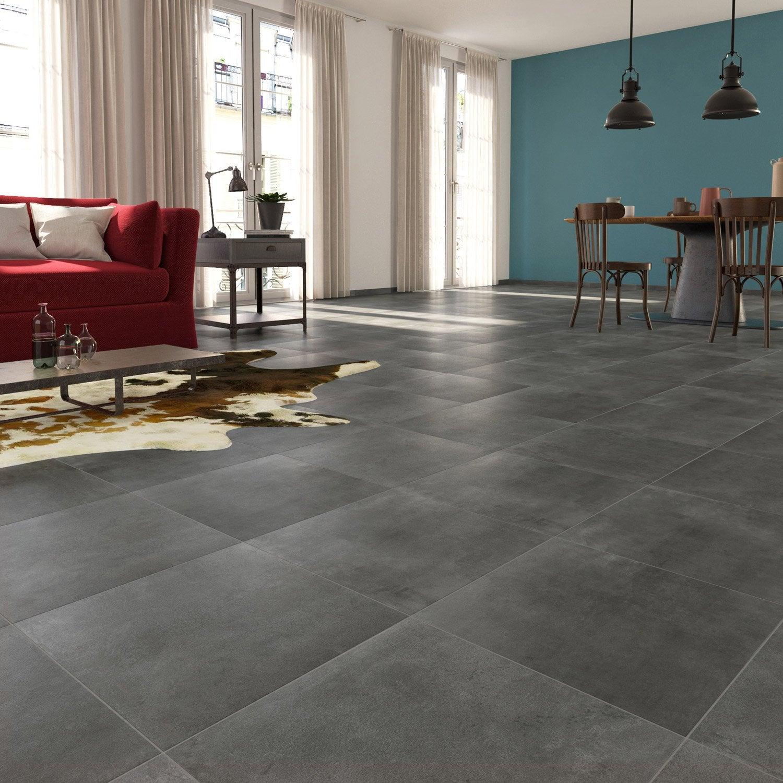 Carrelage sol et mur gris fonc effet b ton laiton x for Carrelage gris beton