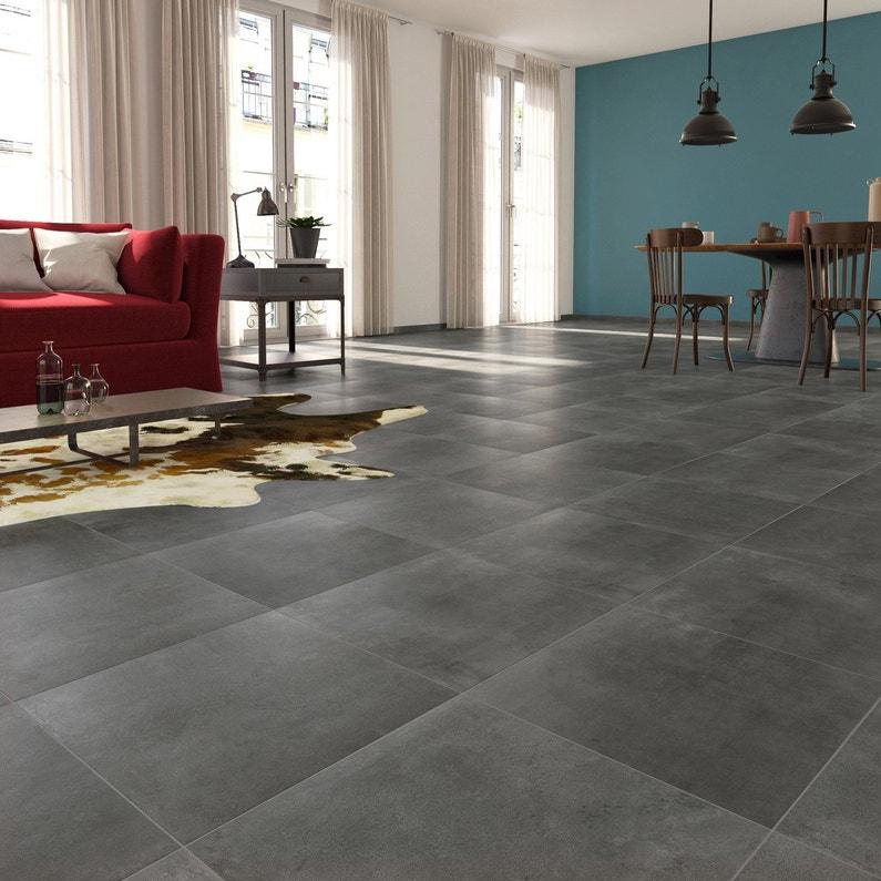 carrelage sol et mur gris fonc effet b ton laiton x. Black Bedroom Furniture Sets. Home Design Ideas