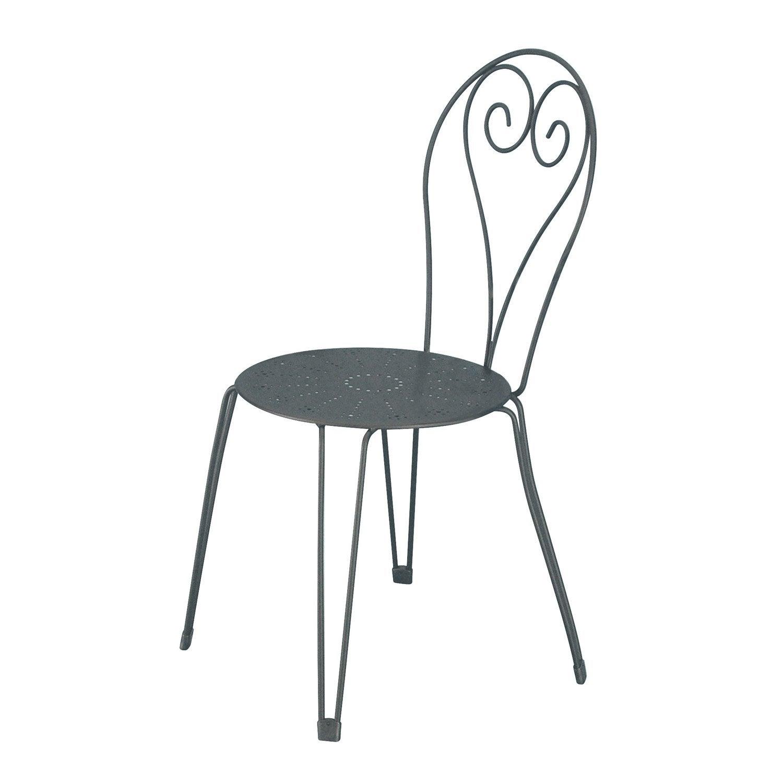 chaise de jardin en acier romantique gris graphite - Chaise Acier