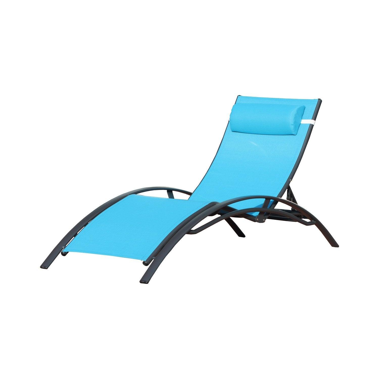 bain de soleil de jardin en aluminium turquoise leroy merlin. Black Bedroom Furniture Sets. Home Design Ideas