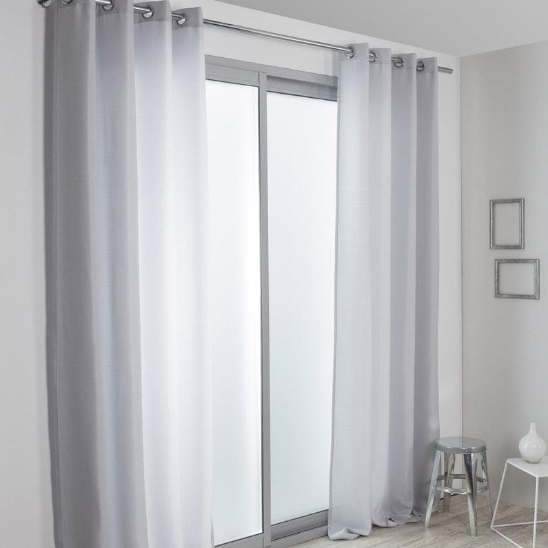 Paire de vitrages tamisant, Java, gris clair, l.140 x H.250 cm