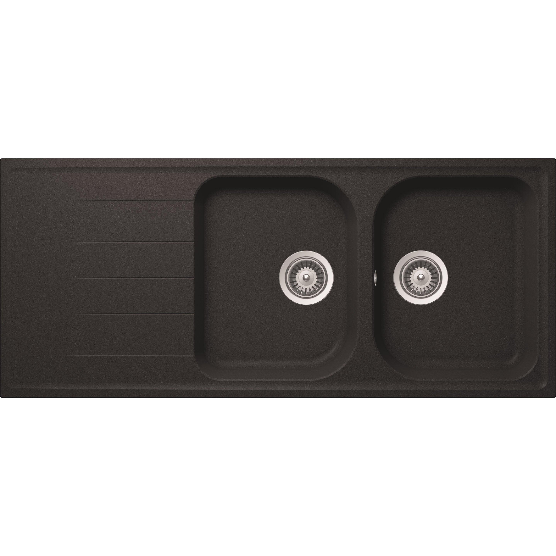 Nettoyer Evier Resine Noir evier à encastrer quartz et résine noir schock viola, 2 bacs avec égouttoir