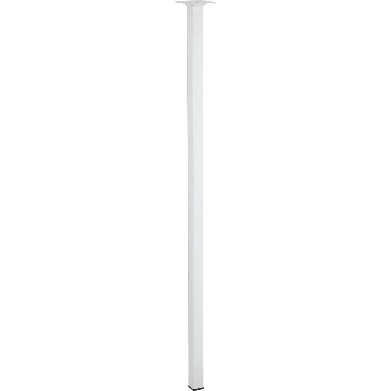 Pied de table carr fixe acier poxy blanc 80 cm leroy - Pied de table telescopique reglable 80 120 cm ...