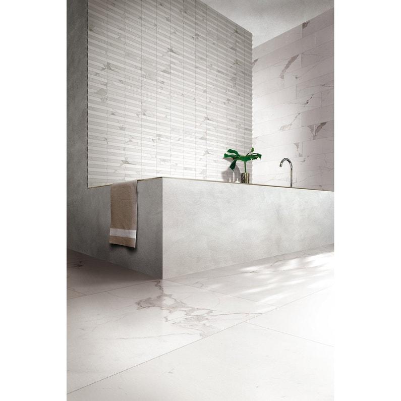 Carrelage Sol Et Mur Blanc Effet Marbre Rimini L X L Cm - Inspirational carrelage épaisseur 6 mm