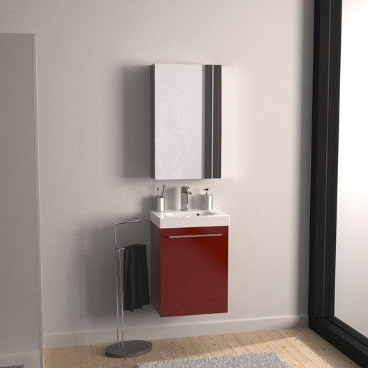 Meuble de salle de bains moins de 60, rouge, Remix