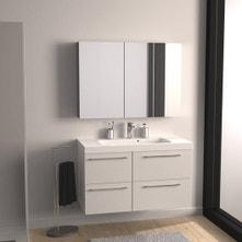 Meuble de salle de bains de 100 à 119, blanc / beige / naturels, Remix