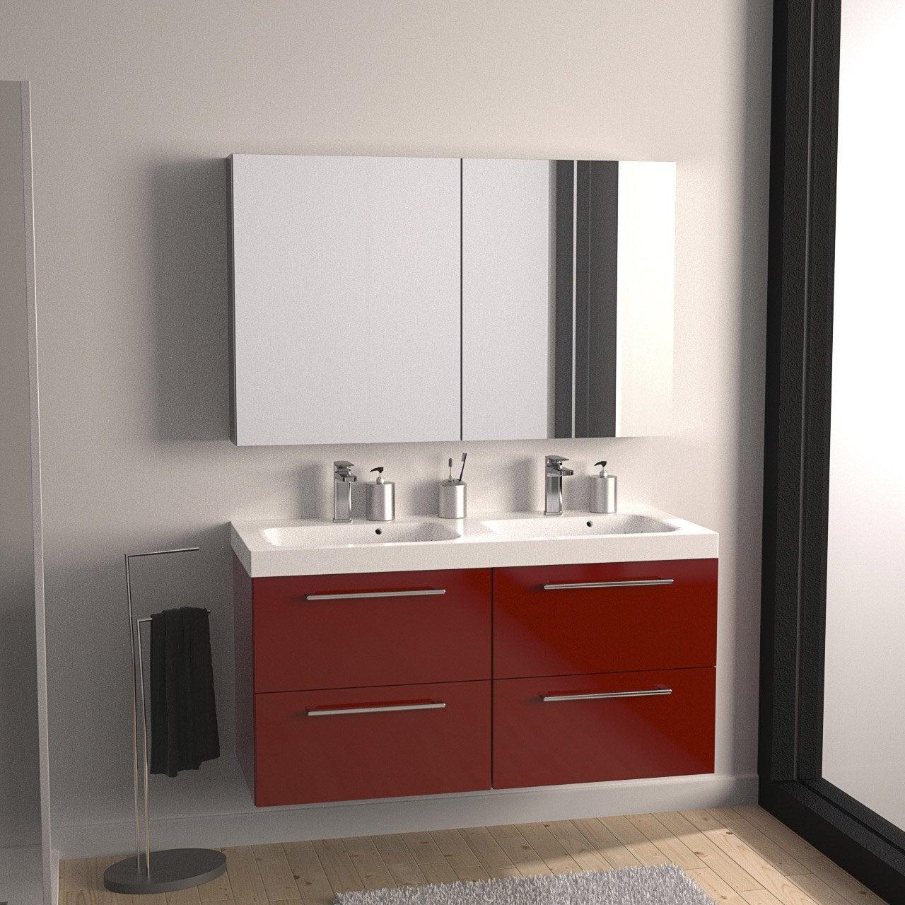 Meuble de salle de bains plus de 120 rouge remix leroy merlin - Meuble de salle de bain rouge ...