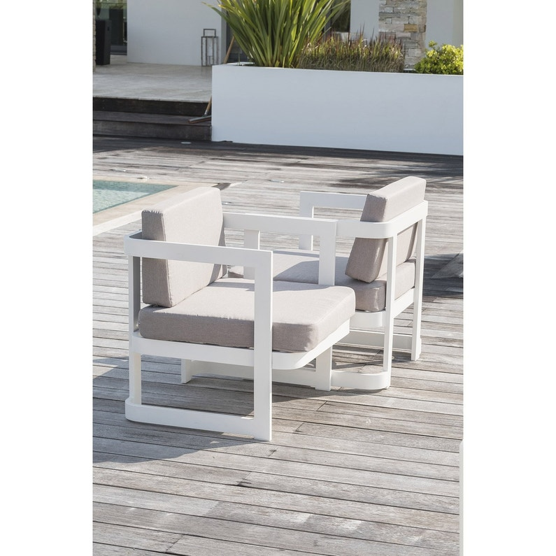 Salon bas de jardin Barcelona aluminium blanc, 2 personnes | Leroy ...