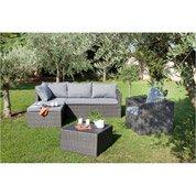 Salon bas de jardin Modena résine tressée anthracite canapé + fauteuil + pouf
