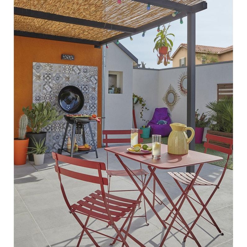 Table de jardin de repas FERMOB Bistro rectangulaire piment 2 ...