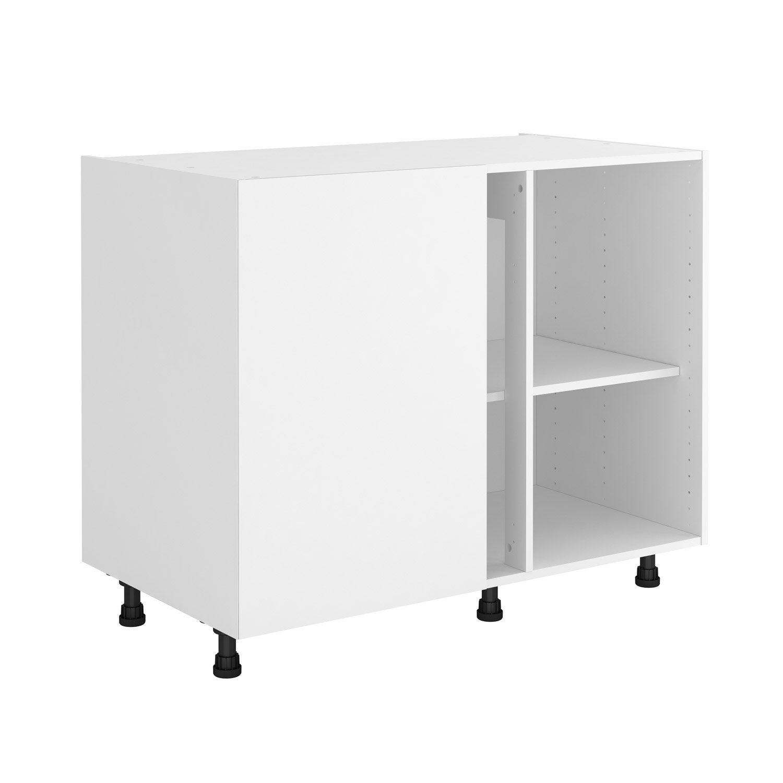 Caisson de cuisine meuble bas d\'angle DELINIA ID, blanc H.76.8 x l.106 x  P.58 cm