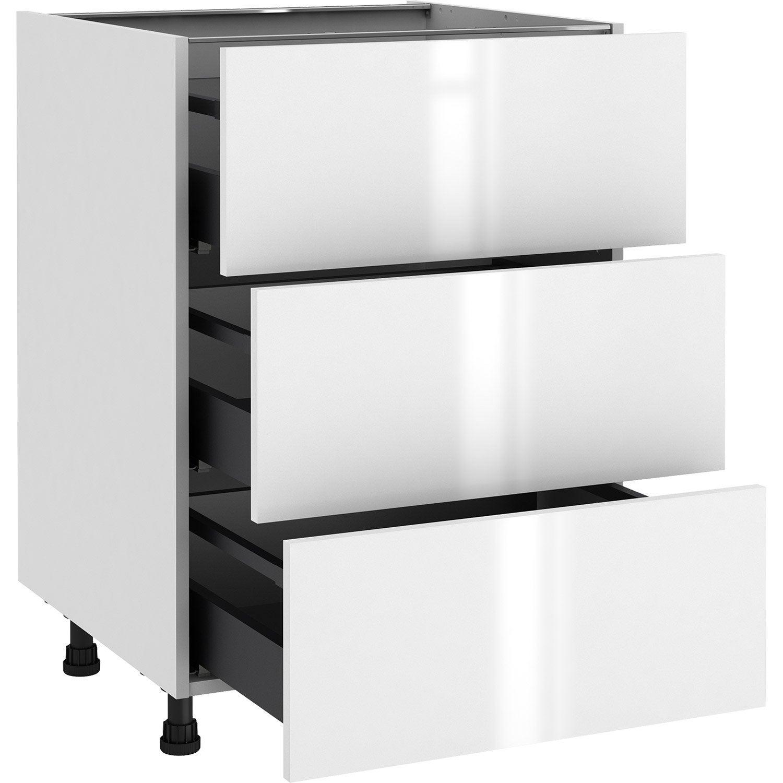 Meuble bas de cuisine Sevilla blanc, 13 tiroirs H.13 l.13 cm x p.13 cm