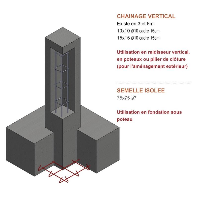 Armature Poteau Z3 15 X 15 Cm Diam10 Mm L 3 M