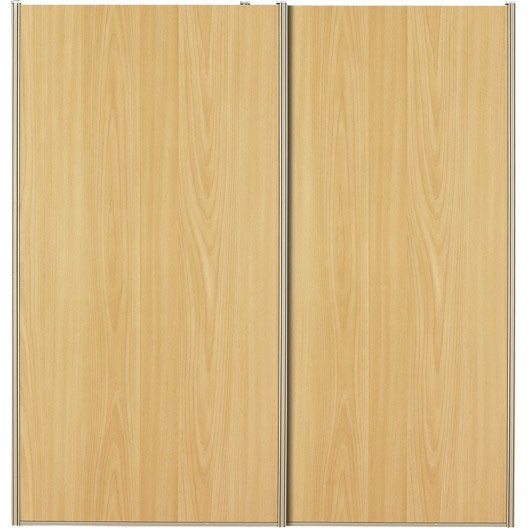 Lot de 2 portes de placard coulissante naturel x h for Pose porte placard coulissante