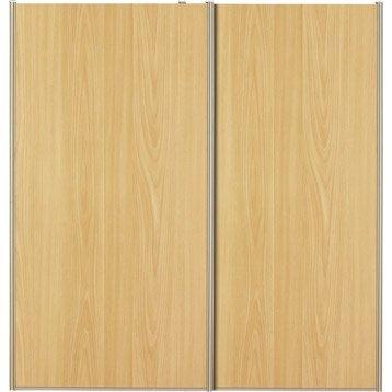 Lot de 2 portes de placard coulissante naturel l.120 x H.120 cm
