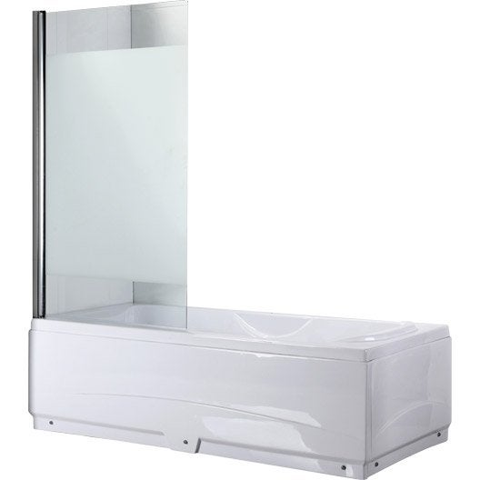 pare baignoire 1 volet verre de s curit 5 mm s rigraphi quadro leroy merlin. Black Bedroom Furniture Sets. Home Design Ideas