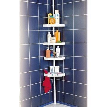 Etag re de bain douche d 39 angle ottawa poser blanc - Etagere d angle salle de bain ...