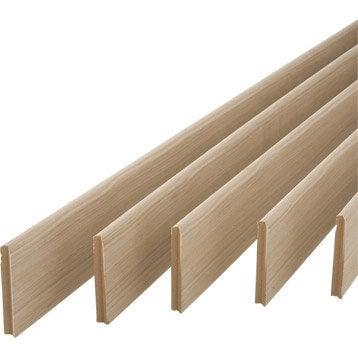 Lot de 5 plinthes placage chêne sans noeud arrondies, 12 x 100 mm, L.2 m