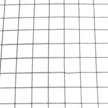 Grillage pour animaux soudé gris, H.1 x L.3 m, maille H.19 x l.19 mm