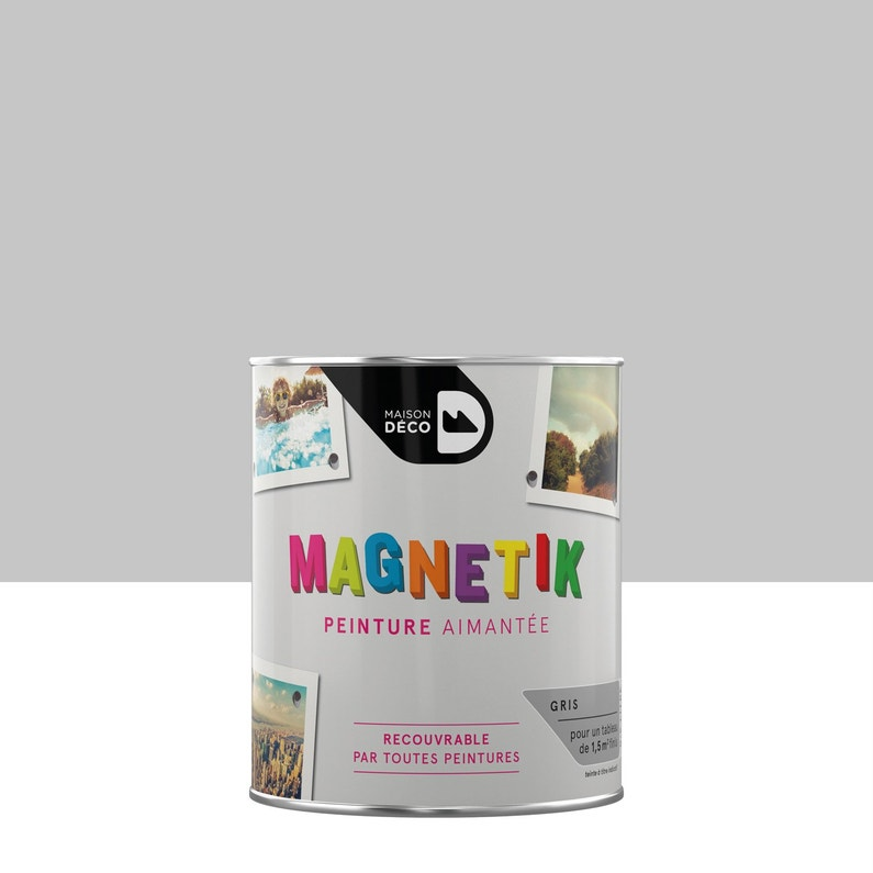 Peinture magnétique gris satin MAISON DECO Magnétik c'est génial