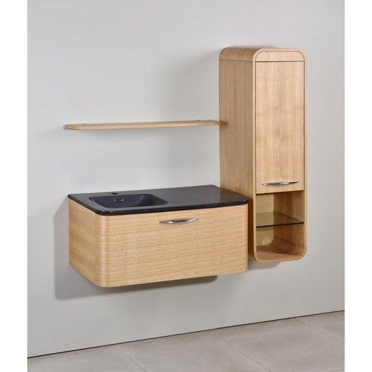 Meuble de salle de bains de 80 99 brun marron - Meuble salle de bain teck leroy merlin ...