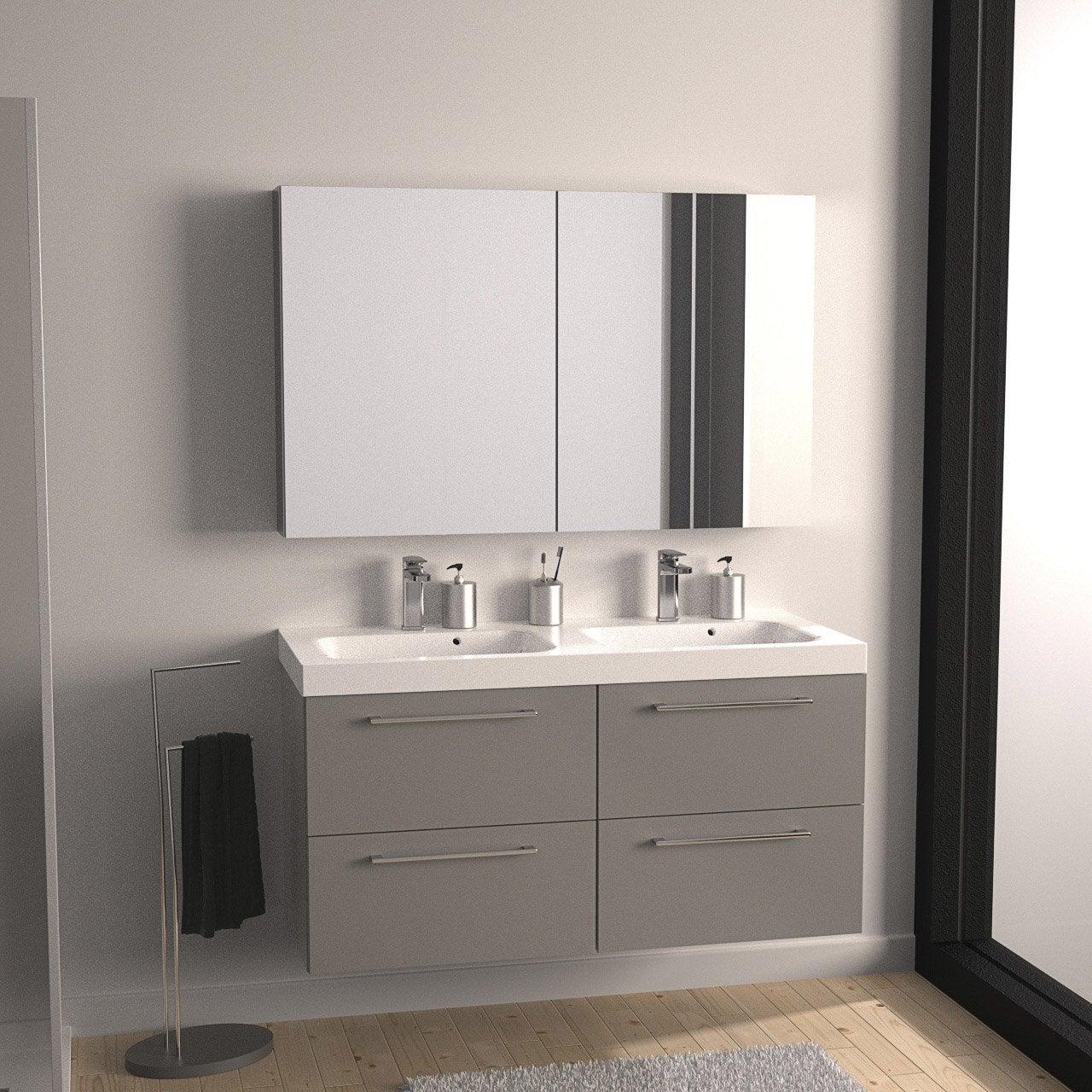 Meuble de salle de bains plus de 120 gris argent remix for Salle de bain 5m2 avec baignoire et douche