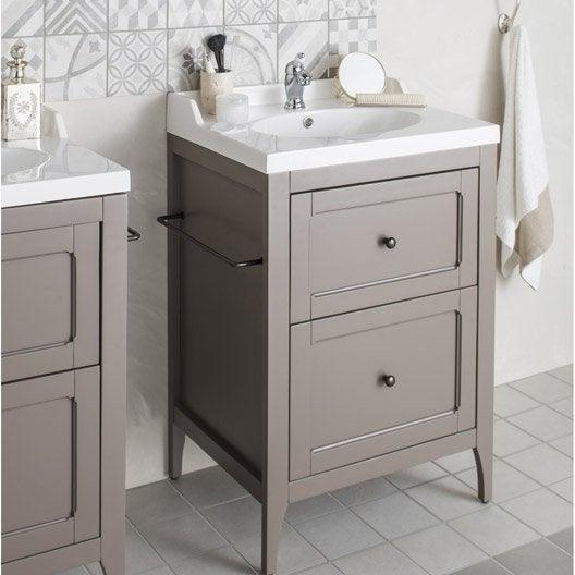 Meuble de salle de bains Ashley gris mat 60 cm